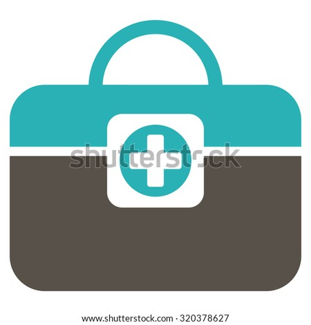 Medic Case vector icon. Style is bicolor flat symbol, grey and cyan colors, rounded angles, white background.