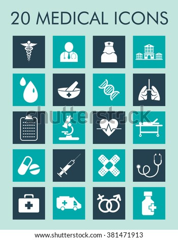 Medical And Healthcare Icons Set For Mobile, Web And Applications.
