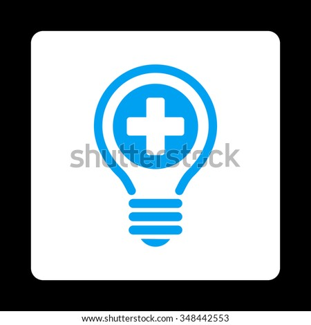vector square blue icon lighting bulb. medical bulb vector icon style is flat rounded square button blue and white colors lighting