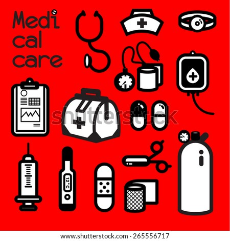 MEDICAL CARE Collection of medical tools meets the first aid need that doctor and nurse alway use to cure patient at the infirmary. Itâ??s also call first aid kit.