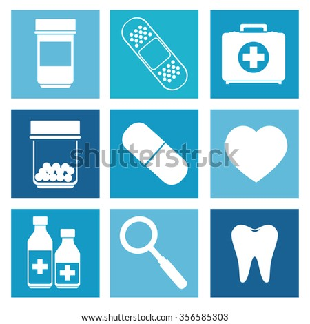 Medical healthcare graphic design, vector illustration icons