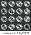 Medical Icons on Metallic Button Collection Original Illustration - stock vector