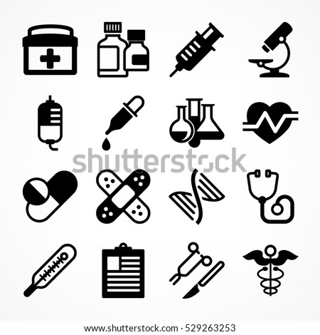 Medical icons on white background. Medicine symbols in grey. Vector illustration