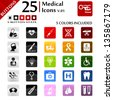 Medical icons set, button series - stock vector
