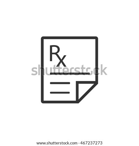 Medical prescription icon in single grey color. Medicine doctor healthcare