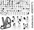 Medical set of black sketch. Part 101-8. Isolated groups and layers. - stock photo