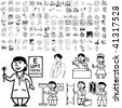 Medical set of black sketch. Part 102-2. Isolated groups and layers. - stock vector