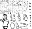 Medical set of black sketch. Part 102-3. Isolated groups and layers. - stock vector