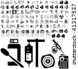 Medical set of black sketch. Part 102-5. Isolated groups and layers. - stock vector