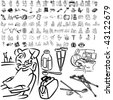 Medical set of black sketch. Part 104-10. Isolated groups and layers. - stock vector