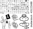 Medical set of black sketch. Part 104-13. Isolated groups and layers. - stock vector