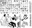 Medical set of black sketch. Part 106-9. Isolated groups and layers. - stock photo