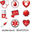 Medical symbols, tools, and medicine on white backdrop - stock photo