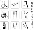 medical tools black and white silhouettes  (also available in raster format) - stock vector