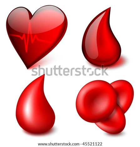 Medical vector icons, blood theme - EPS 10