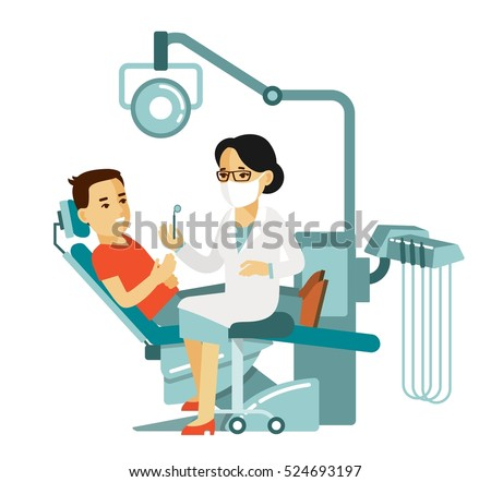 Medicine dental concept  in flat style isolated on white background. Young doctor woman and patient man in dentist chair. Consultation and medical diagnosis
