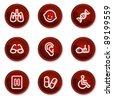 Medicine web icons set 2, dark red circle buttons - stock vector