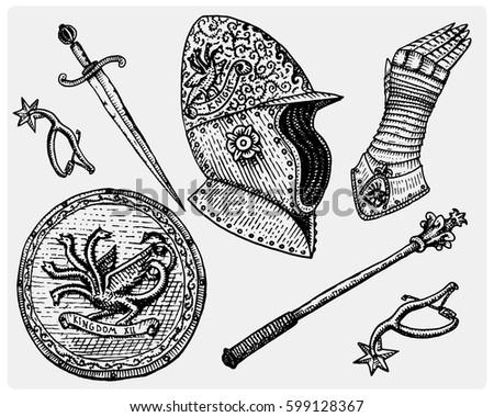 set monochrome knights emblems badges labels stock vector
