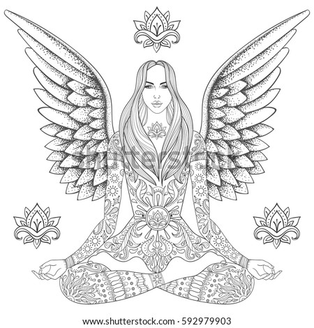 Girl sitting lotus pose chakra vector stock vector for Meditation coloring pages