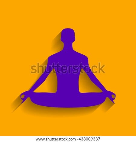 Meditation man sign illustration. Violet icon with shadow on orange background.
