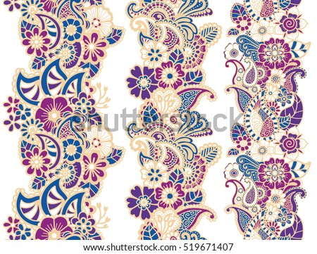 Mehndi ribbons. Paisley design. Collcstion of ornaments. Vector illustration