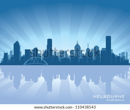 Melbourne, Australia skyline illustration with reflection in water