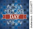 memorial day card over blue background. vector illustration - stock photo