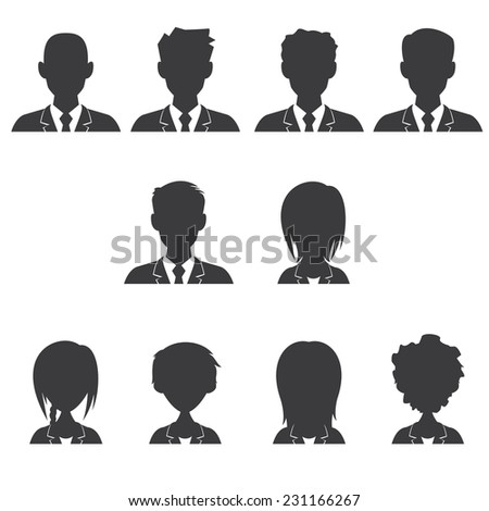 Men and women avatar, vector illustration set collection, isolated white background
