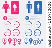 Men and women gender signs set - stock vector