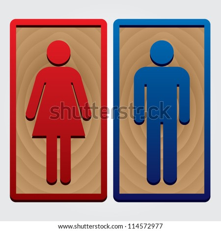 ... Sign with red and blue Border - isolated on White Background - Vector