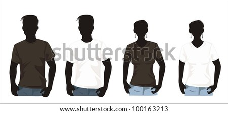 Men's ans women`s shirt template with human body silhouette