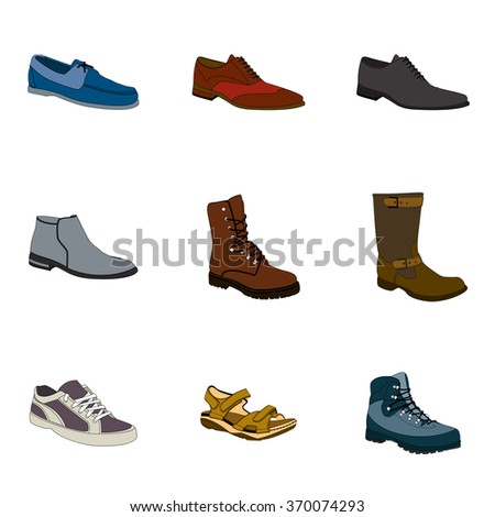 Men's footwear set. Names: biker boot, bootee, business shoe, lase-up, men's sandal,  moccasin, outdoor boots, trainers, trekking, color icons.