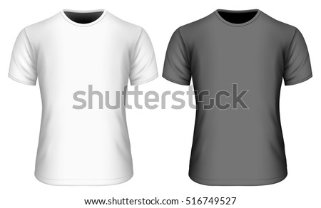 Men's short sleeve black and white t-shirt (front view). Black and white variants of T shirts. Vector illustration of clothes. Fully editable handmade mesh.