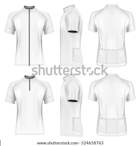 Men's short sleeve cycling jersey with zip. Fully editable handmade mesh. Vector illustration.