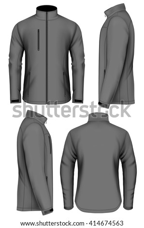 Men's softshell jacket design template (front view, back and side views). Fully editable handmade mesh. Vector illustration.