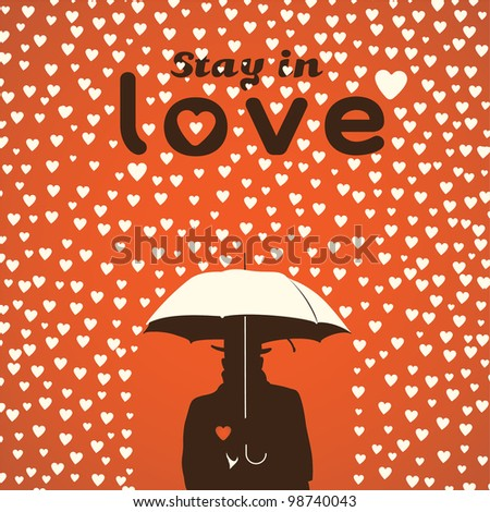 Men under umbrella on hearts shapes rainy background for Valentines Day silhouette, vector Eps10 illustration.