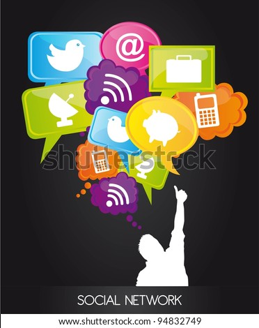 men with  thought bubble with social network sign . vector