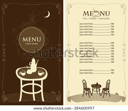 Menu sidewalk street cafe table old stock vector 603402824 for Table cafe menu