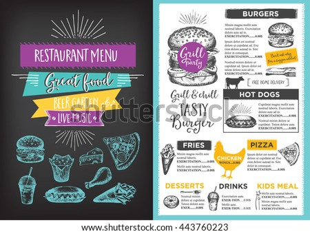 Menu Placemat Food Restaurant Brochure Menu Stock Vector 419510674