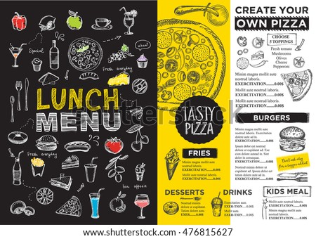Menu Placemat Food Restaurant Brochure Menu Stock Vector 413953174