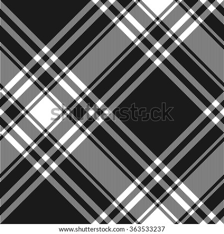 Menzies tartan black kilt diagonal fabric texture seamless pattern.Vector illustration. EPS 10. No transparency. No gradients.