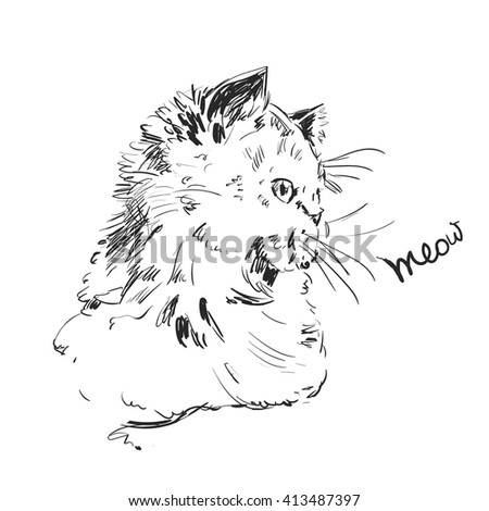 Meow. Vector postcard with cute hand drawn  illustration of cat