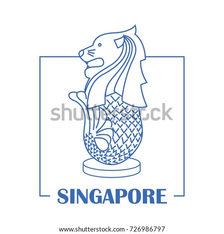 Merlion singapore line art design vector stock vector for Merlion tattoo images