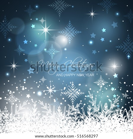Merry Christmas and Happy New Year. Blue vector snowflakes background with stars, glitter and bokeh circles.