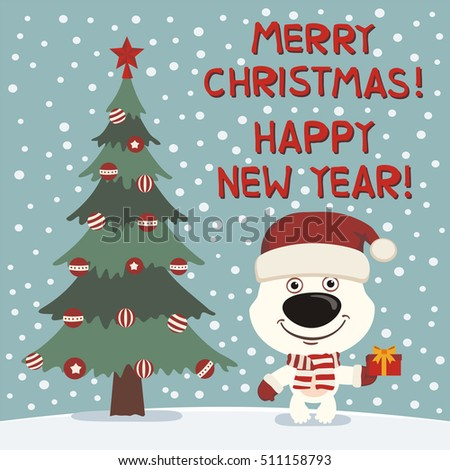 Merry christmas happy new year funny stock vector 500192389 merry christmas and happy new year funny polar bear near christmas tree card in negle Image collections