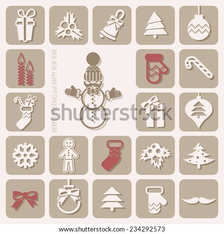 Merry Christmas and Happy New Year Icons Set. Vector illustration. Eps 10