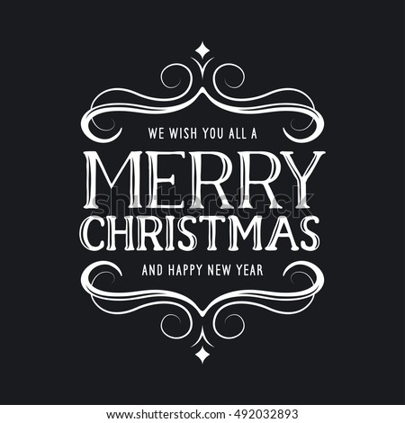 Merry Christmas Happy New Year Lettering Stock Vector 492032878 - Shutterstock