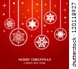 Merry Christmas and Happy new year snowflakes baubles over red background. Vector illustration layered for easy manipulation and custom coloring. - stock vector