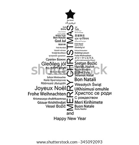 Merry Christmas and Happy New Year text  word Tag Cloud shaped as a tree, vector. Winter holiday background. Isolated on white