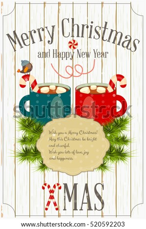 Merry Christmas and New Year Card -  Two Cups of Hot Chocolate and Marshmallows and Xmas Fir Branches on White Wooden Background. Vector Illustration.